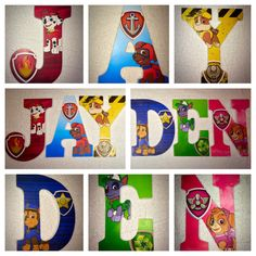 "Custom wooden letters hanging Paw Patrol wood letter for nursery for boys sign 9"" baby kids child children room personalized"