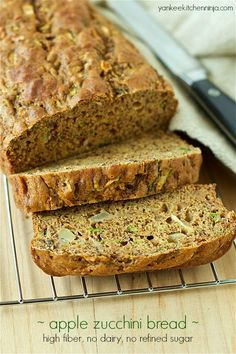 Healthy, delicious apple zucchini bread is loaded with end-of-summer produce and early-fall fruit, plus it contains no dairy or refined sugar. Clean Eating Desserts, Healthy Eating Recipes, Healthy Baking, Healthy Treats, Cooking Recipes, Healthy Foods, Yummy Treats, Apple Zucchini Bread, Flaxseed Bread