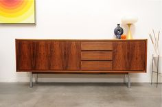 1960s scandinavian modern rosewood credenza sideboard, long low design