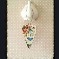 Decoupage Wooden Heart, Twig Tree, Ornament, Wall Plaque, Bohemian, Shabby, Rustic, Botanical, Garden, Butterflies, Chic, Vintage Victorian
