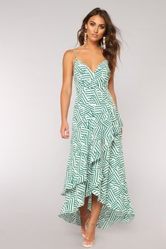 Body Talk High Low Dress - White/Green
