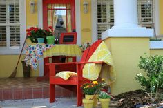 bright and cheerful porch