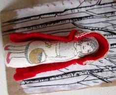 Little Red Riding Hood - textile art brooch, by Clootielugs on Folksy, £10.00