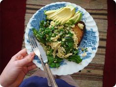 spinach scrambled eggs with avocado and sourdough