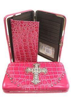 Solid Hot Pink Rhinestone Cross Flat Wallet Croco Faux Leather scarlettsbags. $19.99