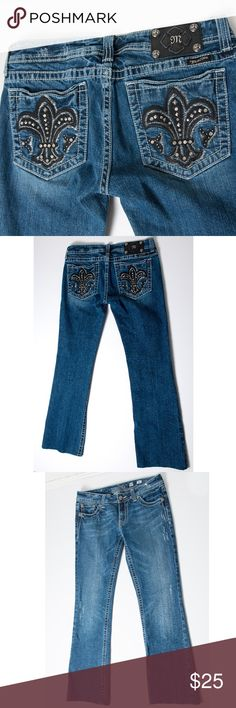 Miss Me Fleur Black De Lis 30 Embellished Jeans Miss Me size 30 Fleur De Lis jeans. Black Fleur De Lis on back pockets. Distressed look. These have been altered but not professionally.  These would make a great pair of jeans to cut off as shorts if the length is too short for you.   JP5075. Preloved condition. No noticeable holes, stains or rips. Miss Me Jeans Boot Cut