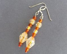 Orange Crackle Drop Earrings Yellow Orange Seed by IsleOfCraftin, $5.40