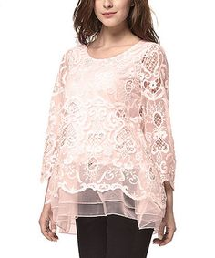 Pink Sheer Crochet Ruffle-Hem Tunic - Plus