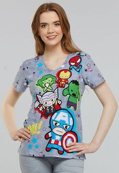 Cool iron if needed. Two Side Angled Front Pockets. V-Neck Top in Kawaii Pow. Back Darts for Shape. Cute Medical Scrubs, Dental Scrubs, Pediatric Scrubs, Veterinary Scrubs, Scrubs Pattern, The Awkward Yeti, Scrubs Outfit, Cherokee Scrubs, Scrub Tops