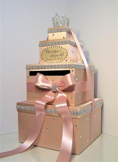 Quinceañera / Sweet 16 / Birthday / Wedding Card Box Champagne and Rose Gold Gift Card Box Money Box Holder – Personaliza tu color a medida Quinceanera Gifts, Quinceanera Planning, Quinceanera Decorations, Quinceanera Dresses, Sweet 16 Birthday, 15th Birthday, Sweet Sixteen, Rose Gold Gifts, Quince Decorations