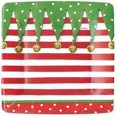 Square Paper Plate in Stocking Stripe Design by Caspari Fun