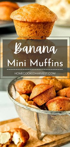 These Banana Mini Muffins are made with creamy buttermilk, soft brown sugar, and (of course) nicely ripened bananas, all rolled into a thick muffin batter. This banana bread muffin recipe will have you making muffins on repeat. Healthy Muffin Recipes, Fun Baking Recipes, Healthy Muffins, Breakfast Recipes, Mini Banana Muffins, Vegetarian Snacks, On Repeat, Cravings, Good Food
