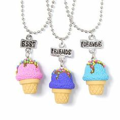 Best Friends Forever Ice Cream Cone Pendant Necklaces Set of 3 | Claire's
