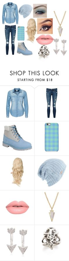 """Blue Blue Blue Jeans"" by doctorwhofl ❤ liked on Polyvore featuring Vero Moda, rag & bone/JEAN, Timberland, Isaac Mizrahi, Free People, Lime Crime, Panacea, Ross-Simons, Pamela Love and women's clothing"