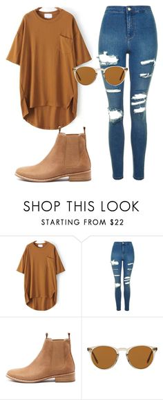 """Sem título #7337"" by ana-sheeran-styles ❤ liked on Polyvore featuring Topshop, Mollini and Oliver Peoples"
