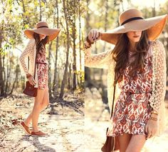 """""""Endless Summer"""" Love this look... Just because Summer is over doesn't mean you can't stop wearing cute dresses and floppy hats!"""