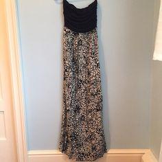 Long Aqua Strapless  dress Like New! Beautiful long summer dress, very comfy and light Aqua Dresses Strapless