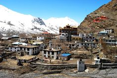 Kaza, the sub-divisional headquarters of Spiti (India), is situated on the left bank of the Spiti river at an altitude of about 12,500 ft. above msl. The village is overlooked by steep ridges.