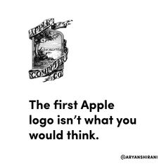 "Originally, it featured Sir Isaac Newton sitting beneath a tree, with an apple about to fall on his head.  It was designed back in 1976 and featured a phrase around the border which read ""Newton…A mind forever voyaging through strange seas of thought…alone"".  Seems kind of dark!  #apple #logo #design #tech #branding #stevejobs #iphone"