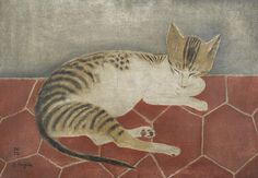 Chat Couché by Tsuguharu Foujita