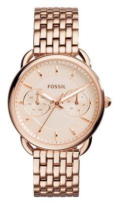 ossil Dameshorloge 'Tailor' Rosékleur ES3713. Een schitterend mooi horloge met een rosé-goukleurige Milanese band en kast. Ook de wijzerplaat heeft die mooie rosé-goudkleur. #rosegold #steel #fossil  #trendy https://www.timefortrends.nl/horloges/fossil/dames.html