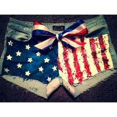 Forth of July diy denim shorts!!!