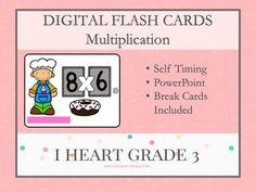 These bakery inspired flashcards are a great way to get your students to practice their multiplication facts. From 1 X 0 to 12 X 12, each Powerpoint slide is equipped with a 5 second timer for responding and Take a Break slides after 15 or 20 equations. No need for a printer with these flashcards! Learning Multiplication, Multiplication Strategies, Teaching Math, Math Math, Math Fractions, Math Games, Maths, Creative Teaching, Third Grade Math