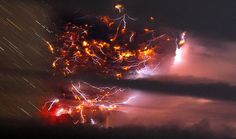 Volcanic lightning over Puyehue volcano, over 500 miles south of Santiago, Chile