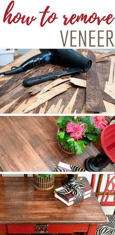 7 Easy Tips ~ How To Remove Veneer – Thrift store crafts Diy Furniture Repair, Salvaged Furniture, Diy Furniture Projects, Furniture Restoration, Refinished Furniture, Paint Furniture, Diy Dresser Makeover, Furniture Makeover, Makeover Tips