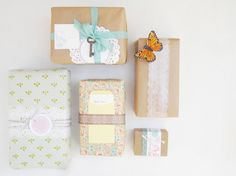 Wrapping with kraft, doilies, paper tape