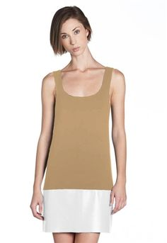 Bailey 44 Horizon Dress is a shift with a leather insert on the bottom.