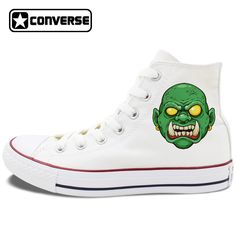 Original Design White High Top Converse All Star Shoes Creepy Green Face Monster with Tusk Halloween Theme Canvas Sneakers  #Affiliate