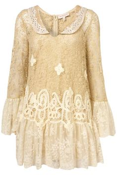 Topshop / Cream crochet lace dress with peterpan collar and embellishment.
