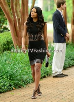 """Being Mary Jane's"" MJ (Gabrielle Union) met up with David in a $1,519 Christopher Kane Black Cut Out Pencil Dress paired with Christian Louboutin Martha Lattice Sandals. Mary Jane's black sleevele..."
