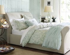 Pale teal bedroom