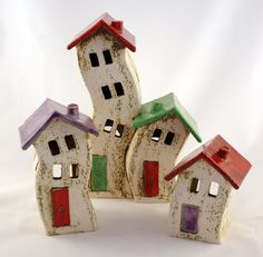 ceramic Rozos Clay Houses, Ceramic Houses, Miniature Houses, Ceramic Clay, Miniature Dolls, Diy Clay, Clay Crafts, Diy And Crafts, Clay Fairy House