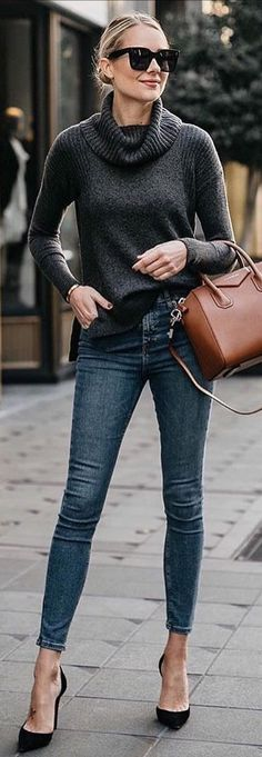 #winter #outfits black turtleneck sweater; stone-washed blue denim fitted jeans; pair of black pointed-toe suede heeled sandals