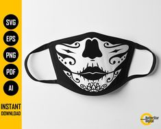 Day Of The Dead Girl, Sugar Skull Girl, Witch Face, She Mask, How To Make Tshirts, Fashion Face Mask, Girl Face, Clipart, Digital