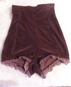 Damson velvet high waisted stretch shorts tap shorts UK by BOODWAH, £10.00