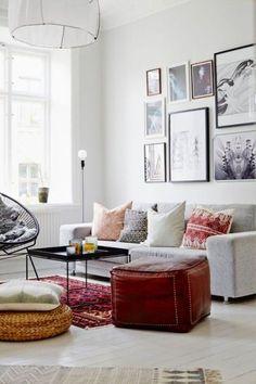 A boho-meets-modern living room
