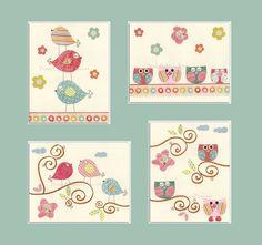 Baby girl Room Decor, Nursery Art, baby owl, bird...Pastel series, set 4 8x10, pink, turquoise, pale pink, green, baby blue. $65.00, via Etsy.