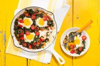 Chard and Egg skillet - not just for Breakfast!  I used kale and it worked well.  Also tomato sauce instead of tomato, because its what I had.
