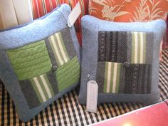 Quilted pillows using felted wool sweaters