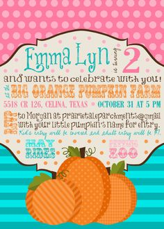 Pink, Teal, Chocolate and Orange Pumpkin Patch Party Invitation and Coordinates