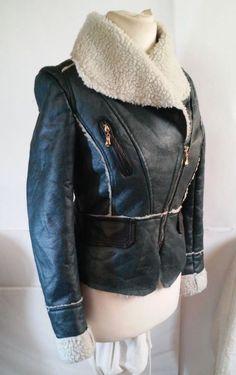 Nice Black&Fish Green Faux Leather Faux Fur Lined Warm Jacket Size L #BlackFish #BasicJacket