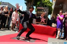 Giancarlo Esposito with his star at the Hollywood Walk of Fame ceremony, 2014 April 29. Tweeted by AFPredcarpet.