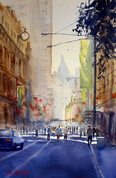 Watercolor Paintings Street Scene Gallery: Watercolour @@@@......http://www.pinterest.com/venussanat/watercolor-painting/
