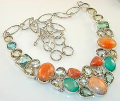Extravagant Green Amethyst Sterling Silver Necklace price: $152.85  #Popular  #Jewelry  #Fashion