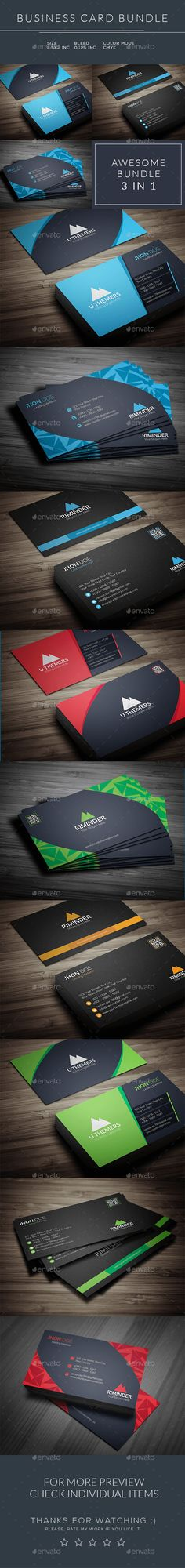 Business Card Bundle 3 in 1 - Business Cards Print Templates