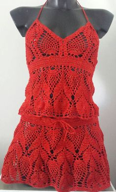 Festival Hippie, Festival Wear, Festival Outfits, Festival Clothing, Crochet Crop Top, Crochet Bikini, Red Mini Skirt, Mini Skirts, Red Crop Top
